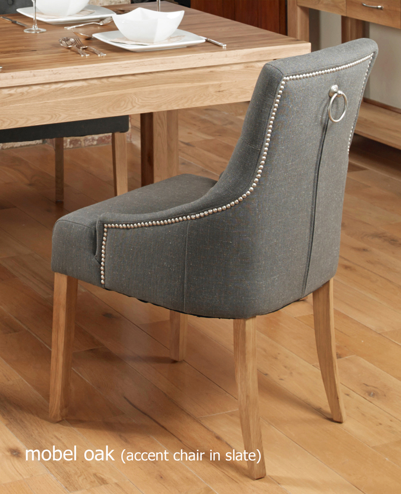 oak accent upholstered dining chair slate pack of two