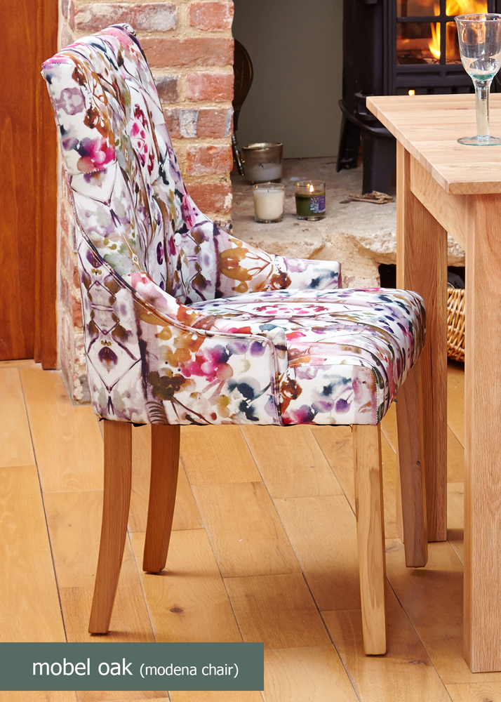 oak accent upholstered dining chair modena pack of two
