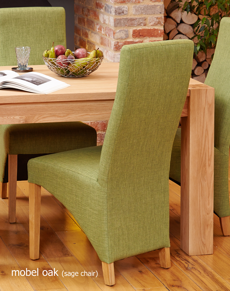 oak full back upholstered dining chair sage pack of two