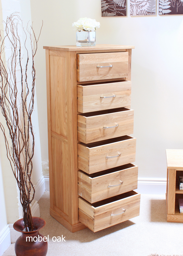 mobel oak tallboy 6 drawer