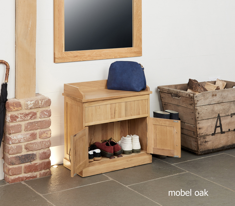 mobel oak shoe bench with hidden storage
