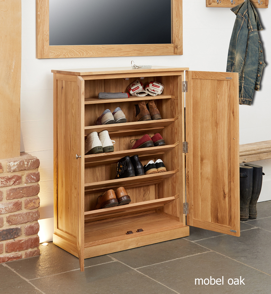 mobel oak large shoe cupboard